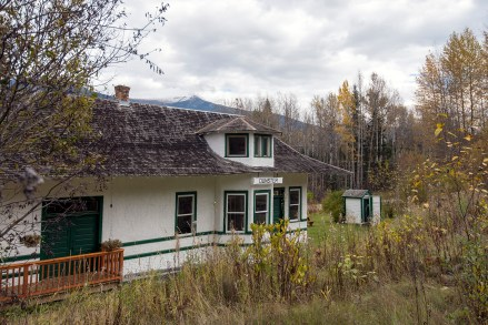 The old Dunster station, in Robson Valley across the Fraser River from the Yellowhead Highway. The station was constructed in 1913 and named Dunster by a Grand Trunk Pacific Railway inspector after his hometown in England.