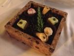 Custard cream cone, pistachio truffle and yucca pearl
