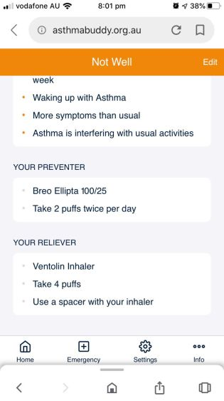 Here a sample asthma action plan that you would have pre-filled with your doctor