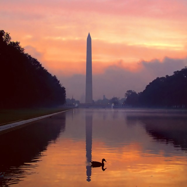 The Lincoln Memorial Reflecting Pool and the Washington Memorial