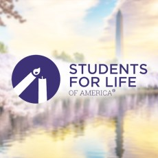 The Students For Life Logo with the Washington Monument Blurred in the Background.