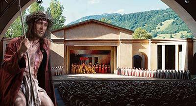 Oberammergau Theatre filled with people watching the Passion Play