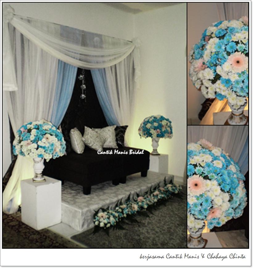 pelamin biru putih  Cantik Manis Bridal  Bouquet