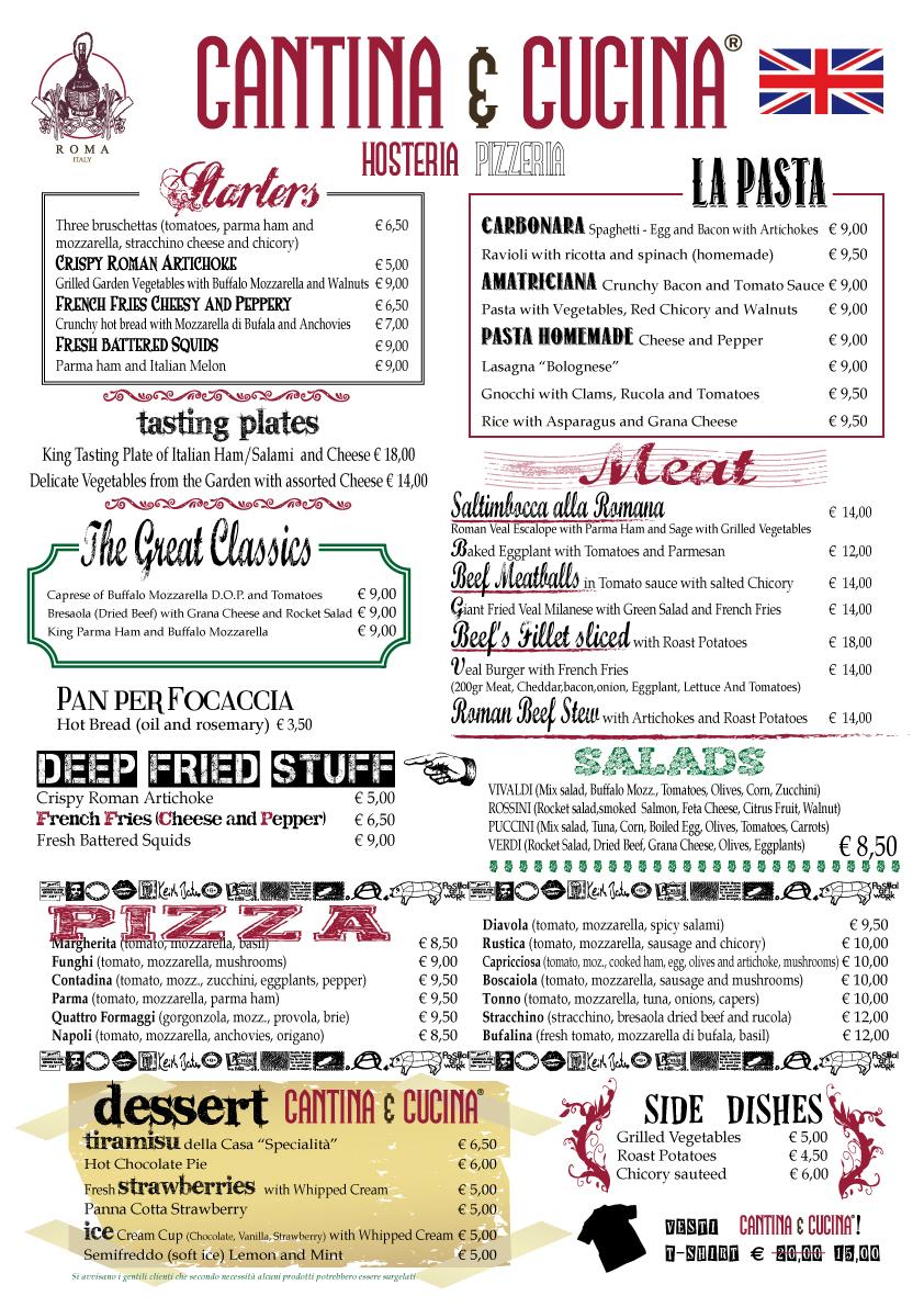 I Menu  Cantina e Cucina  Hosteria Pizzeria  La buona tavola in stile italiano