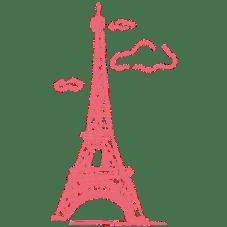 Brushe da torre eiffel cor de rosa