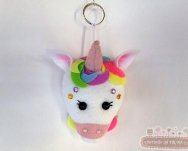 Chaveiro de Unicornio em Feltro