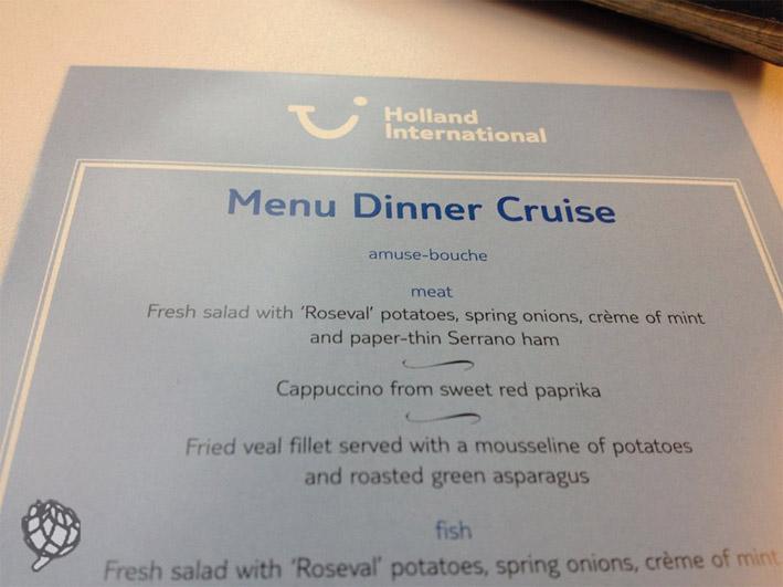 jantar no barco em Amsterdam menu