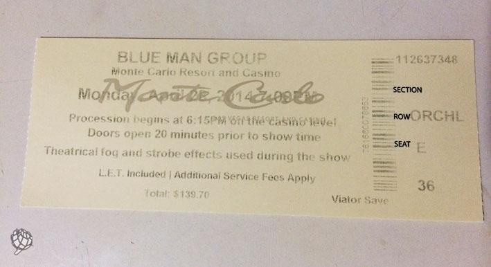 Blue Man Las Vegas ingresso