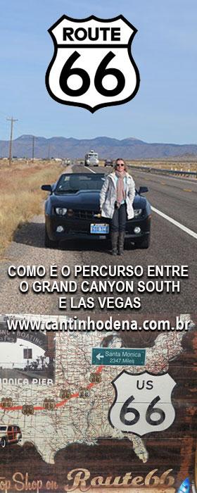 De carro do Grand Canyon para Las Vegas pela Rota 66
