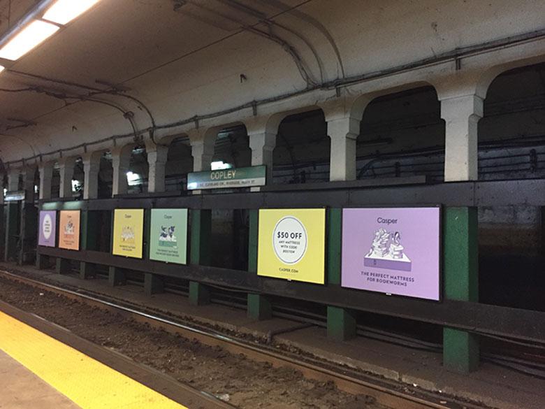 Trilhos de estação de metrô em Boston