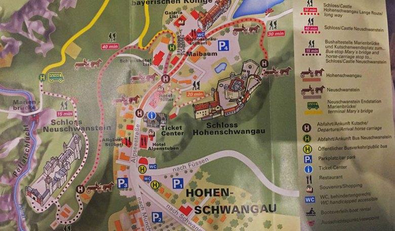 Mapa de acesso ao Castelo de Neuschwanstein