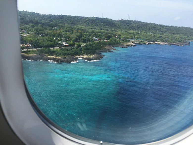 Vista de San Andrés chegando de avião