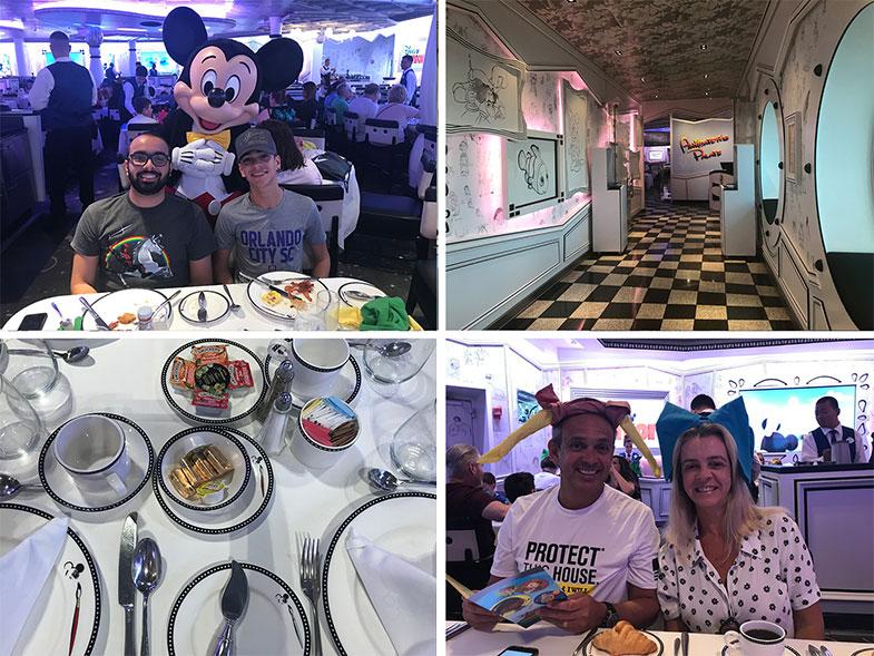 Café da manhã com personagens no cruzeiro Disney Wonder