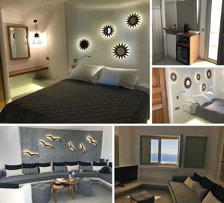 Quarto do hotel onde ficamos em Santorini