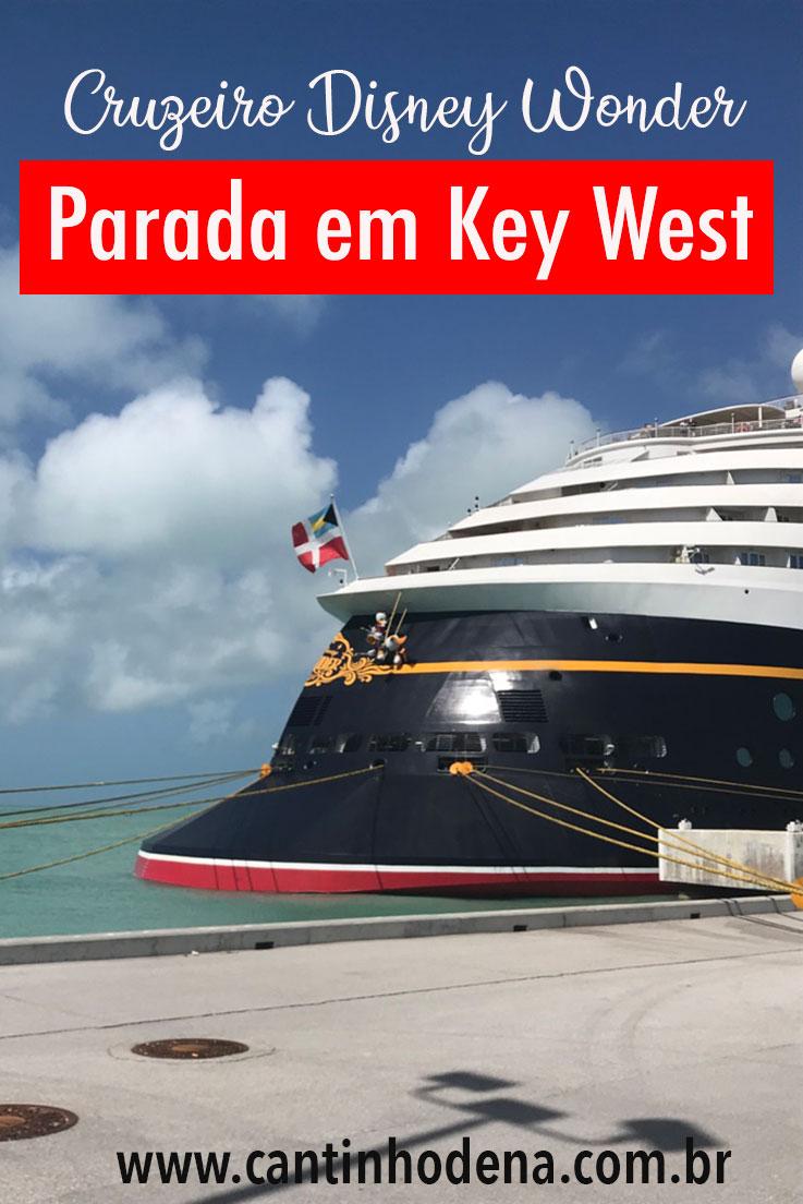 Parada do cruzeiro Disney Wonder em Key West
