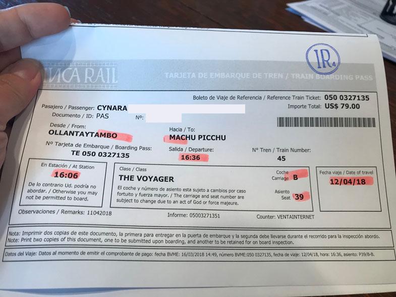 Ticket de trem para Machu Picchu