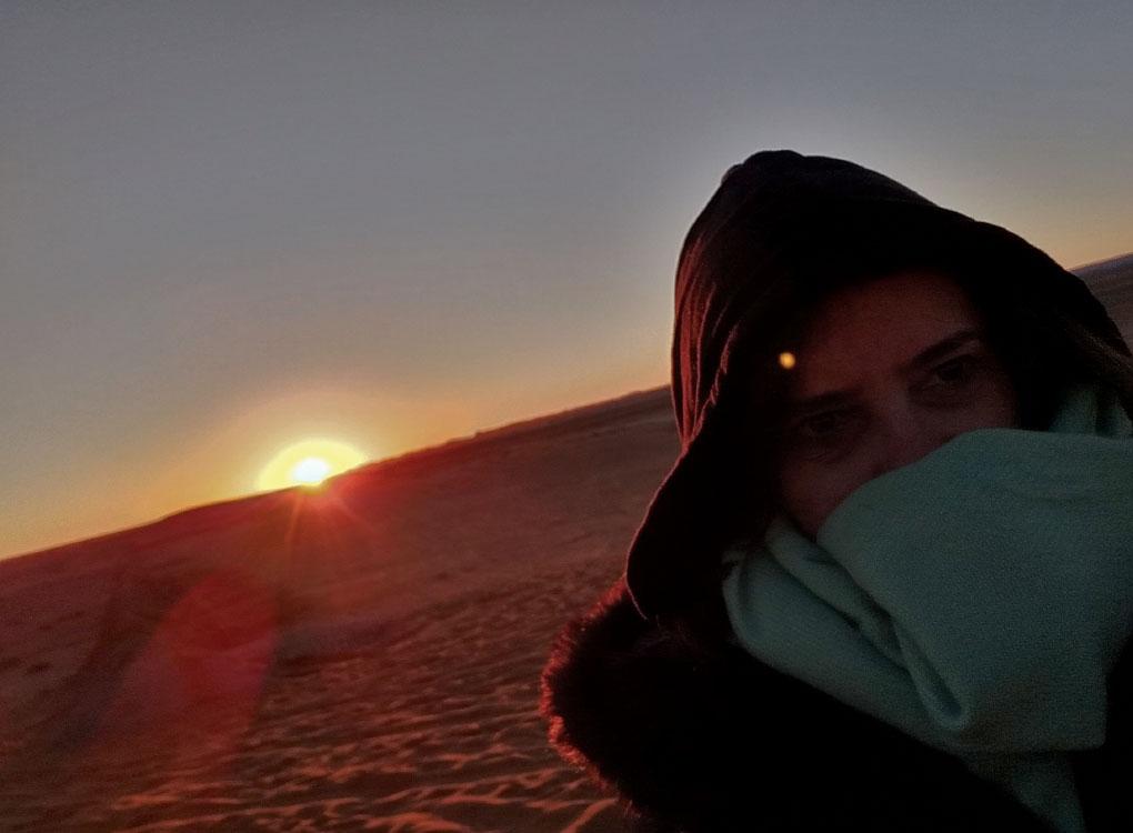 Nascer do sol no deserto no Marrocos