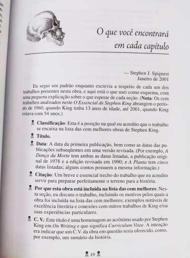 Página do livro O essencial de Stephen King, de Stephen Spignesi, da Editora Madras, comentando como fará cada classificação dos livros de King.