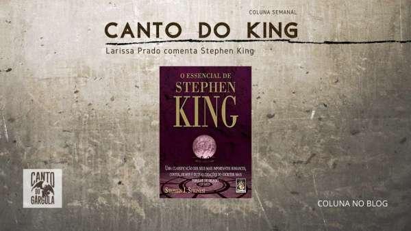 Capa do livro O essencial de Stephen King, de Stephen Spignesi, da Editora Madras. Tem um globo de cristal roxo em meio a um pedestal de ferro e o fundo é roxo escuro.