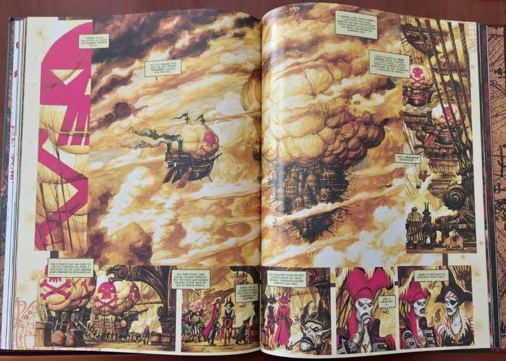 Página dupla mostrando dois navios voadores através de nuvens amareladas.