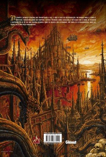 Contracapa mostrando uma cidade completamente gótica vista ao longe. Céu alaranjado e navios flutuando no ar.
