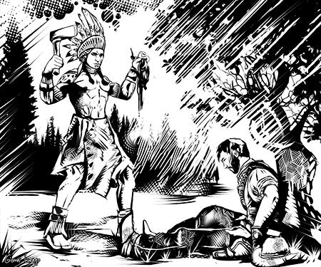 Um estranho índio segurando um coração olha para um homem moribundo encostado sentado à uma árvore.