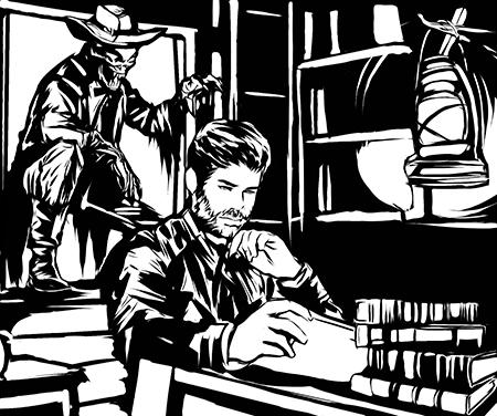 Homem sentado lendo enquanto um estranho cowboy esá sentado na janela.