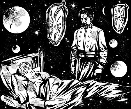 Homem em pé velando o corpo de uma senhora deitada em uma cama.