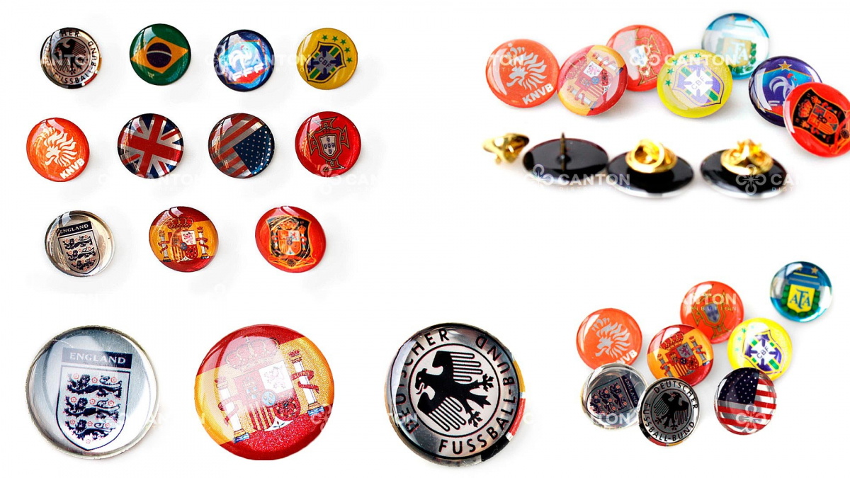 Metal badges with epoxy layer for wholesale order by