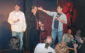 Celebrating Lewis Black's birthday onstage at Omaha Funny Bone