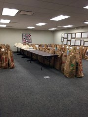 Bags of gifts ready for distribution