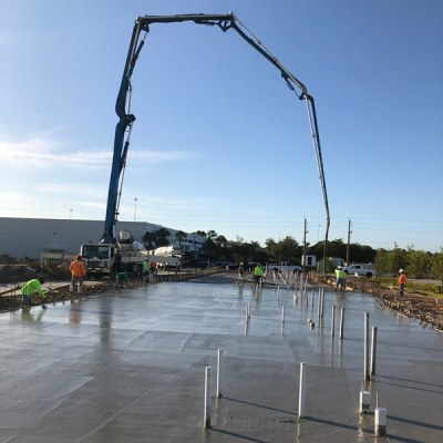 Concrete pumping an industrial site