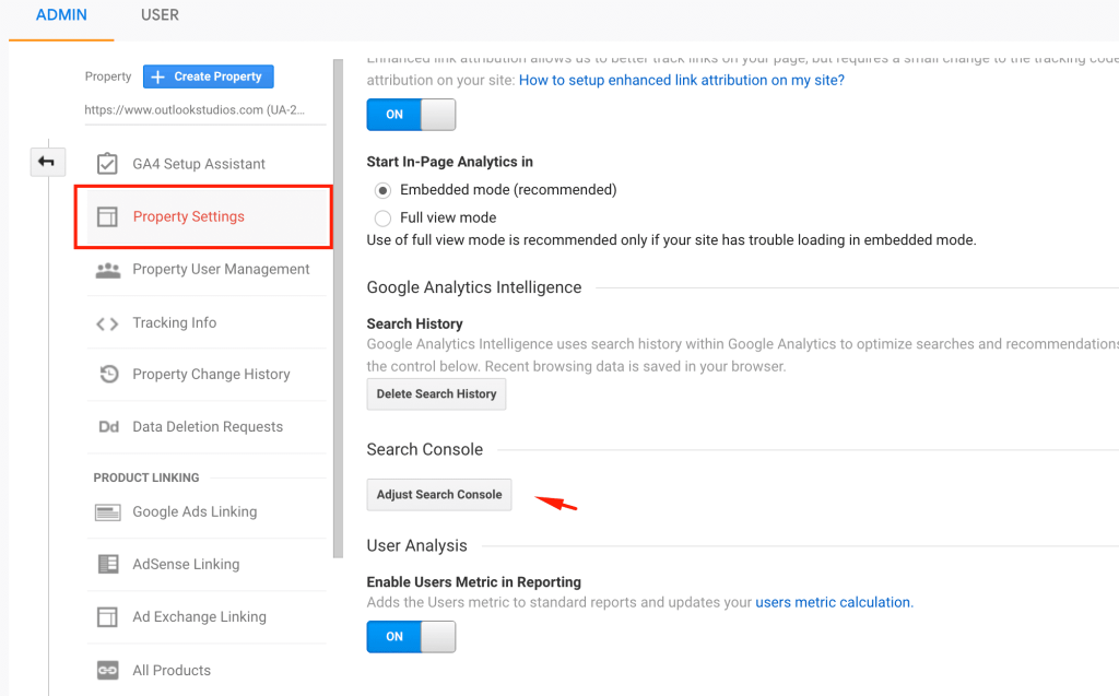 Link Google Analytics to Search Console