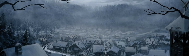 fantasy medieval snow winter artwork ice digital mountains houses fire song let