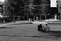 At Jubilee Square - two friends share a moment.