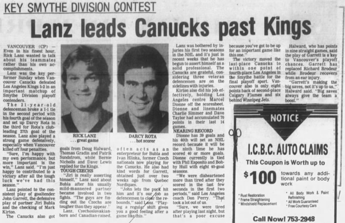 Throwback Thursday: On this day in 1983, Rick Lanz led Vancouver Canucks beat LA Kings