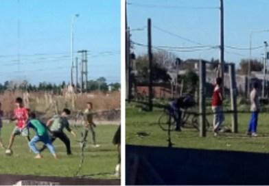 Máximo Paz , Cañuelas:  en el barrio Altos Verdes se juega al fútbol en Cuarentena obligatoria.