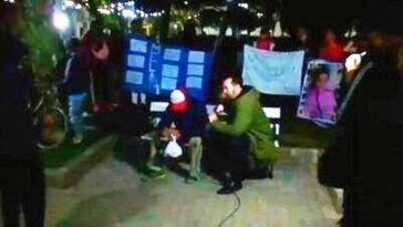 Cañuelas - un abusador de menores fue descubierto en la plaza San Martin sentado a metros del móvil de TV.