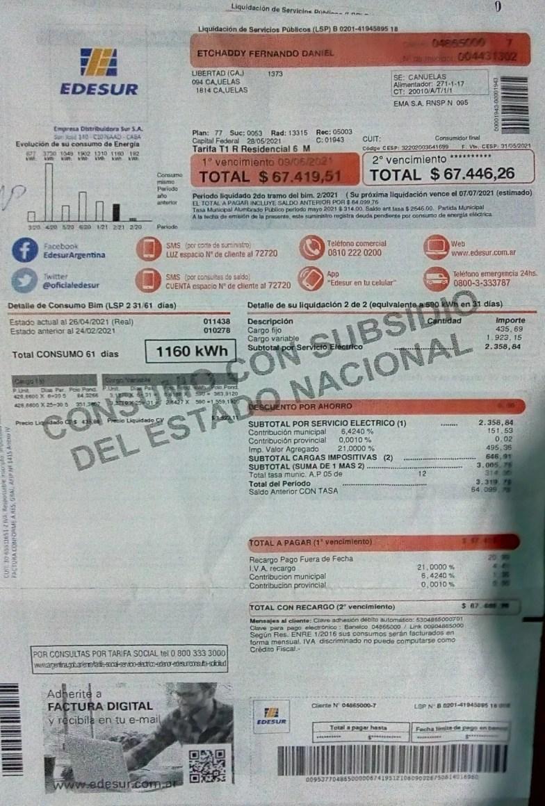 Edesur Cañuelas - sobrefacturacion en boletas de las viviendas, en el Gobierno de Fernández.