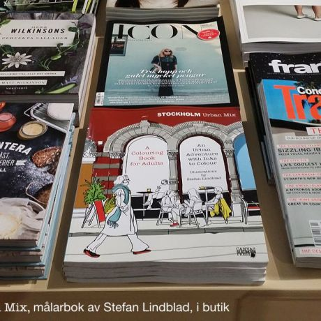 The Stockholm Urban Mix colouring book on display at retail book store