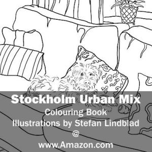 Stefan Lindblad, illustration, Illustratör, Illustration, teckningar, drawings, Corlouring, Coloring Book, Stockholm Urban Mix, Hund, Dog, Wheaten Terrier, Soffa, Couch