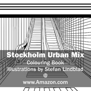 Stefan Lindblad, illustration, Illustratör, Illustration, teckningar, drawings, Corlouring, Coloring Book, Stockholm Urban Mix, Globen, Rulltrappa