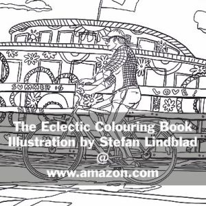 The Eclectic Colouring Book, Stefan Lindblad, illustrationer, bicycle, cykel, slussen