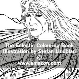 The Eclectic Colouring Book, Stefan Lindblad, illustrationer, viking Woman, Uppsala