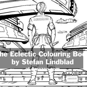 The Eclectic Colouring Book, Stefan Lindblad, illustrationer, mechanic, spacecraft, woman, kvinna, girl, tjej, mekaniker, rymdfarkost, repair