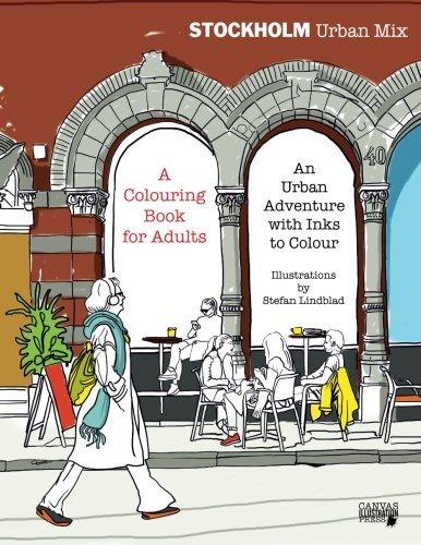 Stockholm Urban Mix, book, independant, Publishing, Publisher, indie, coloring, colouring book, city, urban sketches, drawings, teckningar, Götgatan, Street, people, walking, cafe, uteservering, Starbucks, Fenix bar