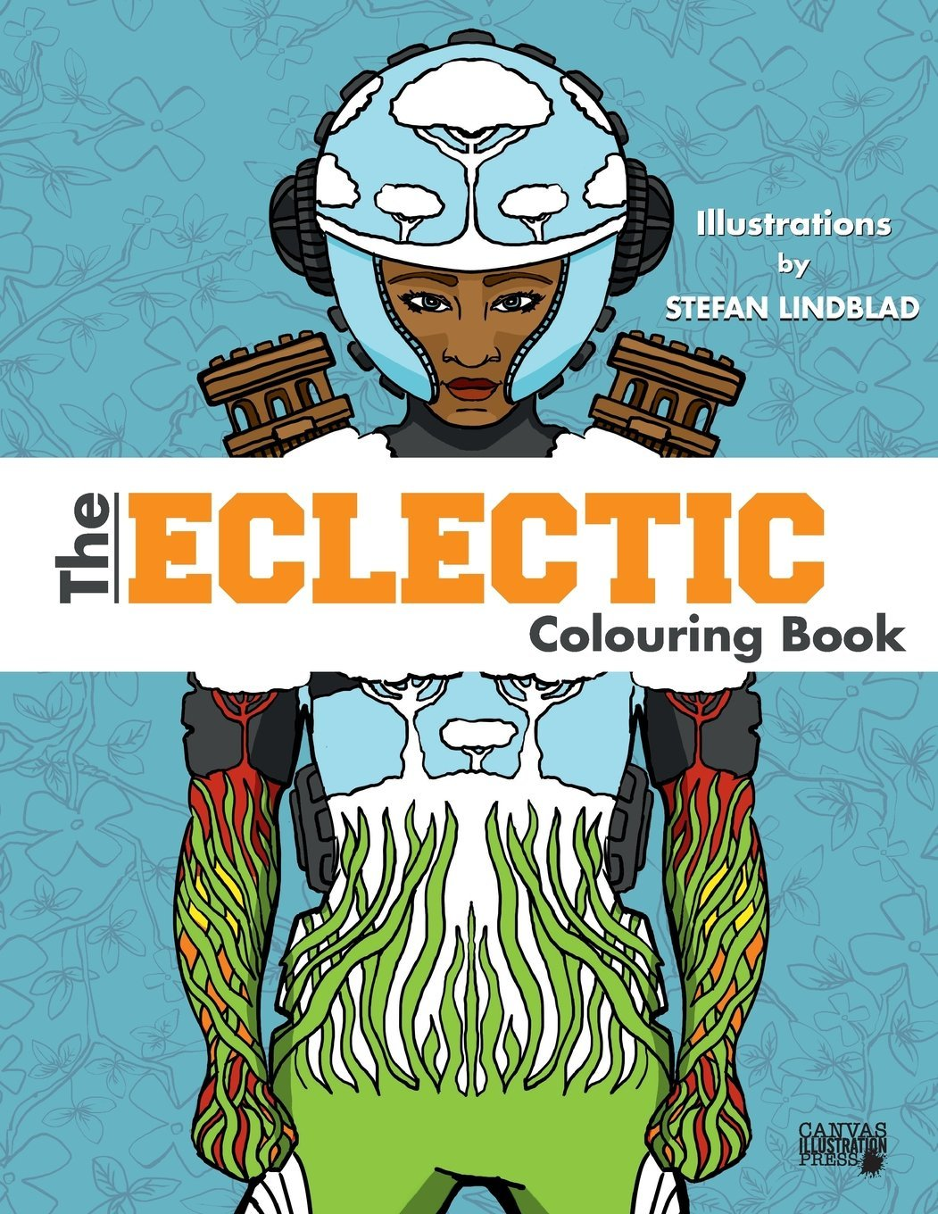 The Eclectic Colouring Book, Coloring, Illustrator, illustrations, by Stefan Lindblad, woman, afro american, pilot, space, book cover, design
