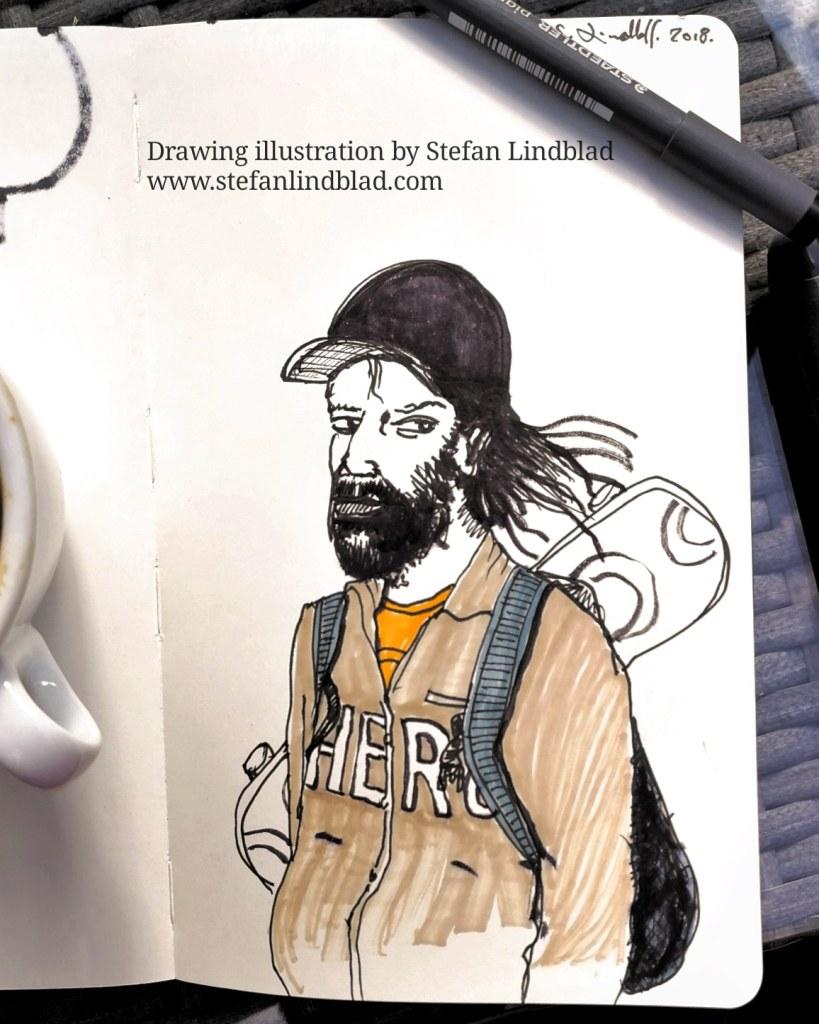Stefan Lindblad, Illustratör, illustration, tusgteckning, Moleskine, Keps, baseballkeps, pennteckning, tushpennor, tuscheteckning, En Man med skägg, hipster, skateboard, Skatare, Skater, Hero, Hjälte; urban, Urban Sketching