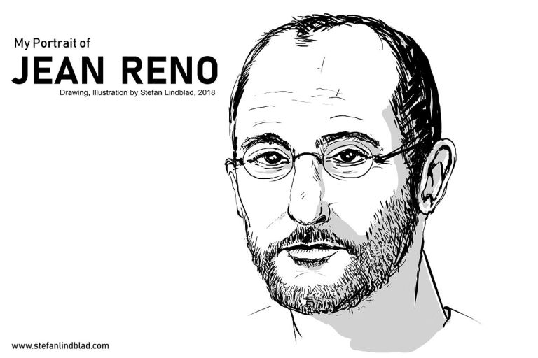 Illustration, teckning på Jean Reno