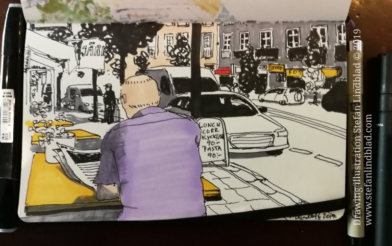 Urban Sketching, coffee at Café and buying art supplies